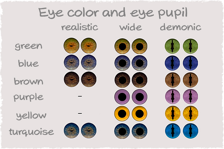 variations of the eye color and eye pupil