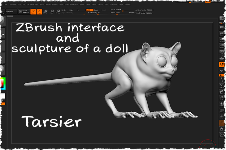 the interface of ZBrush and sculpture of a doll