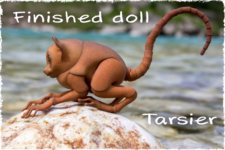 The finished doll. 3D printed bjd Tarsius.