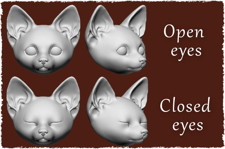 Open and closed eyes are available for BJD fox cub