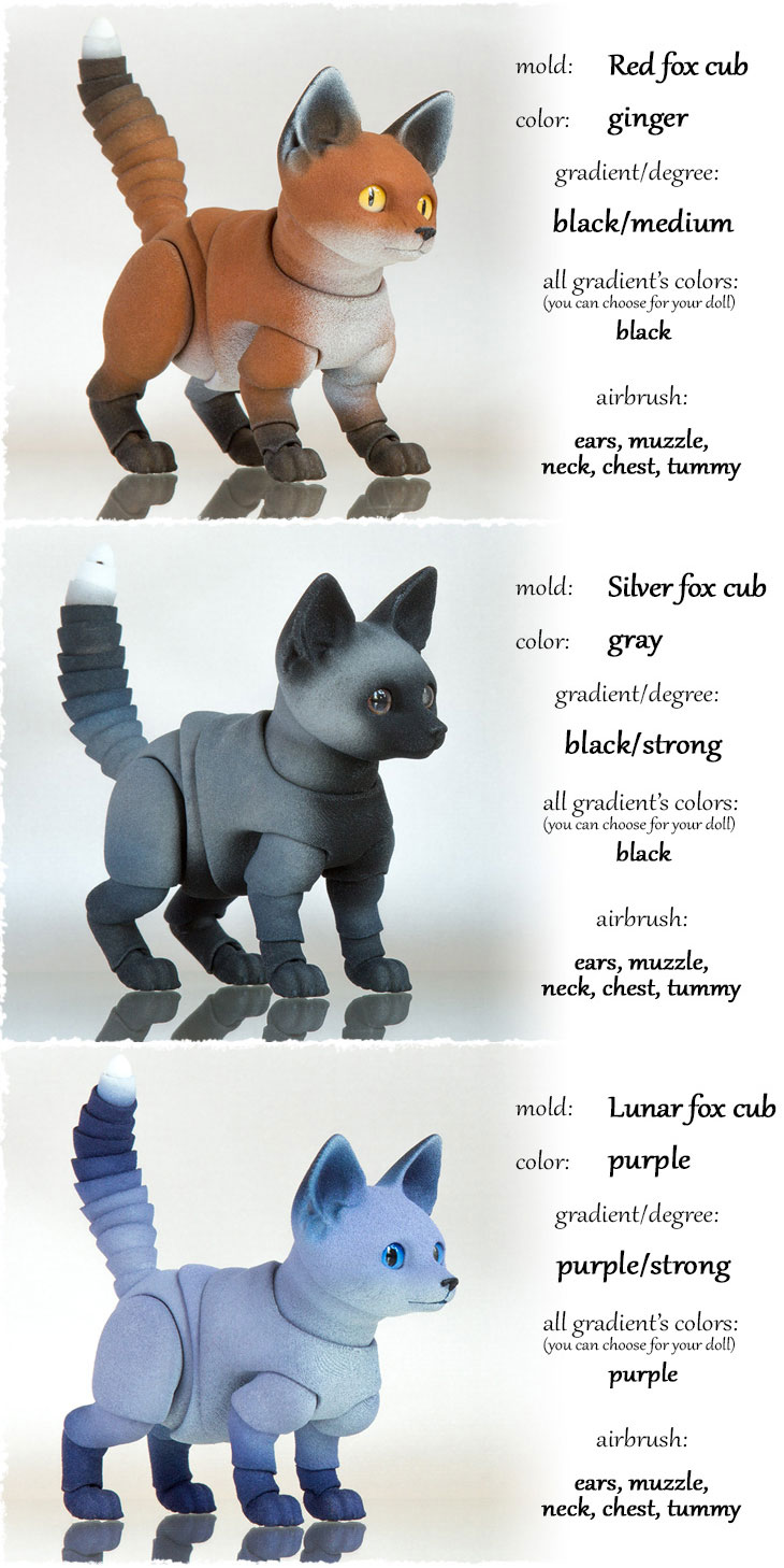 There are colors for bjd fox cub
