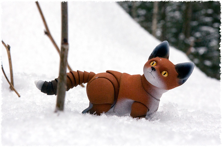 3D printed bjd fox cub with white border on the ears.