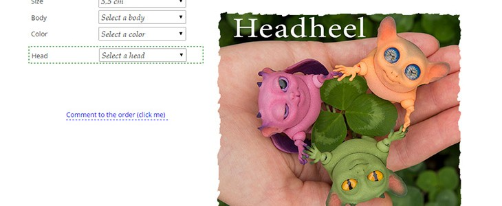 There is a screenshort of the pre-order form with bjd Headheel in the picture.