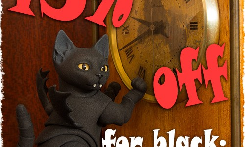 BJD black cats, tariers and Headheels are for Friday the 13th