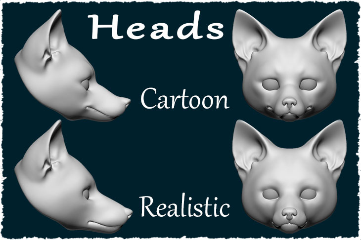 The types of the adult fox doll head.