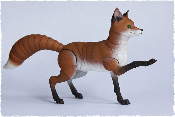 An adult fox is a 3D printed ball jointed doll